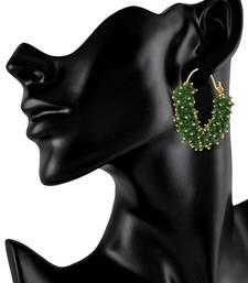 Designer Green bunched pearls hoops dangler earrings
