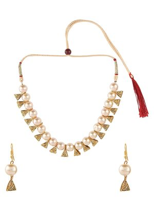 Designer Egyptian Golden Pearl Beaded necklace with matching earrings