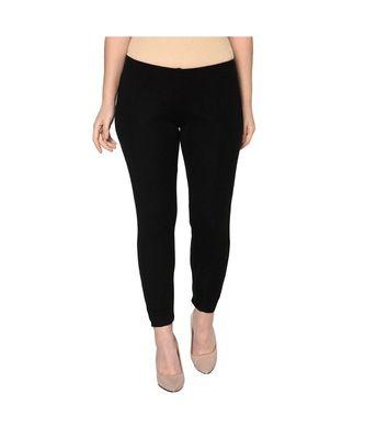 Fabnest womens winter black acrylic warm bottomwear with slit