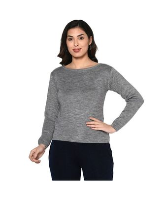 Fabnest women winter boat neck basic grey acrylic pullover