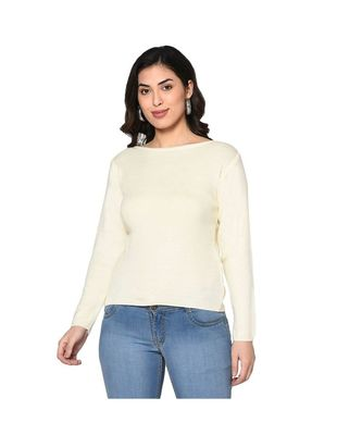 Fabnest women winter acrylic boat neck off white pullover