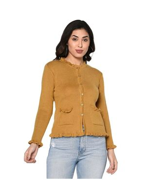 Fabnest women winter acrylic mustard cardigan with pockets and frill detail