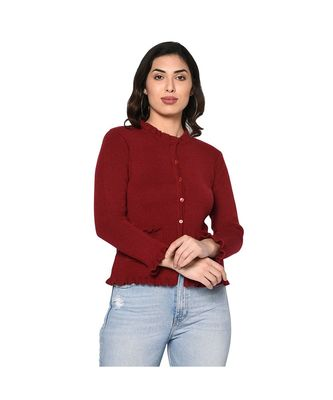 Fabnest women winter acrylic maroon cardigan with pockets and frill detail