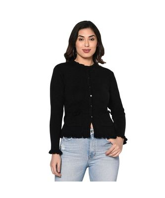 Fabnest women winter acrylic black cardigan with pockets and frill detail