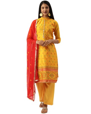 Yellow weaved banarasi silk salwar