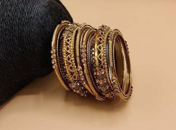 CLASSIC ANTIQUE LOOK STUDDED PEARL TRADITIONAL BANGLES SET FOR WOMEN AND GIRL'S