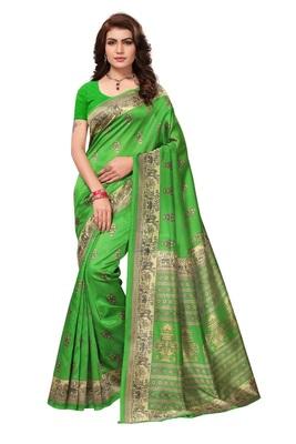 green artsilk abstract print  sarees