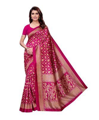 pink artsilk abstract print  sarees