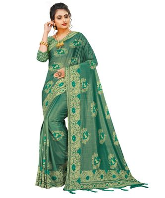 green artsilk floralprint  sarees