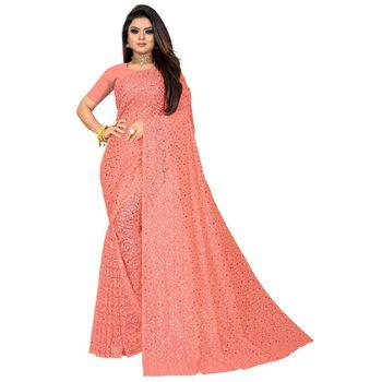 pink georgette sequinswork  sarees