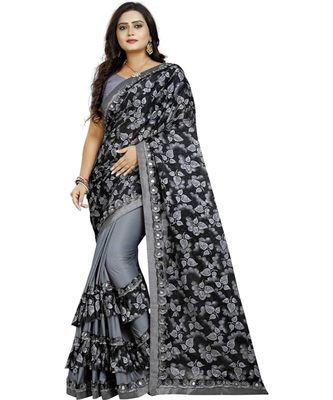 Grey Lycra Saree Floral Print Saree For Women