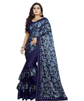 Blue Lycra Saree Floral Print Saree For Women