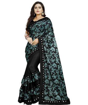 Green Lycra Saree Floral Print Saree For Women