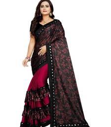 Pink Lycra Saree Floral Print Saree For Women