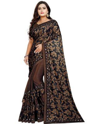 brown artsilk floralprint  sarees