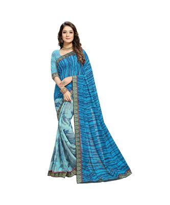 blue cotton floralprint  sarees