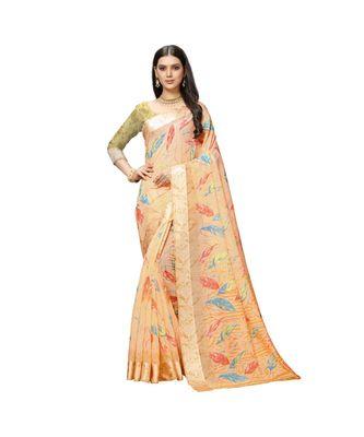 orange cotton floralprint  sarees