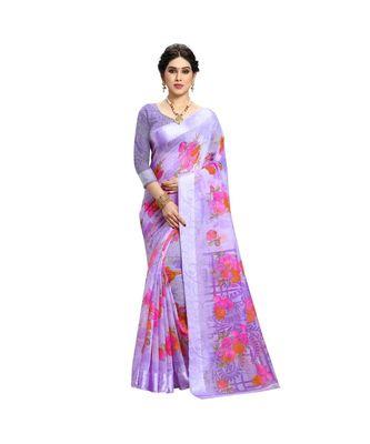 purple cotton floralprint  sarees