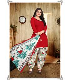 red unstitched synthetic dress material