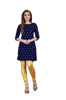 SWAGG INDIA Women's Wear Velvet Blue Color Straight Kurti Kurta With Leggings