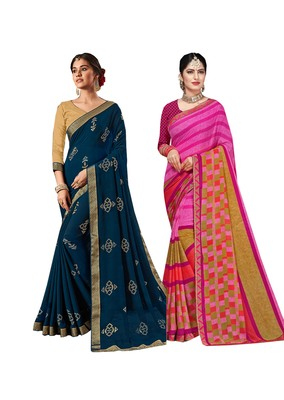 Classiques Blue & Pink Saree Combos With Blouse (Pack of 2)
