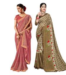 Classiques Pink & Brown Saree Combos With Blouse (Pack of 2)