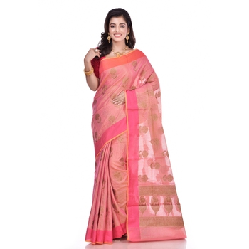 Pink woven organza saree with blouse