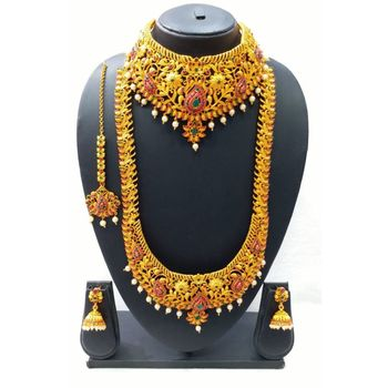 Gold Plated South Indian Temple Necklace Set For Women