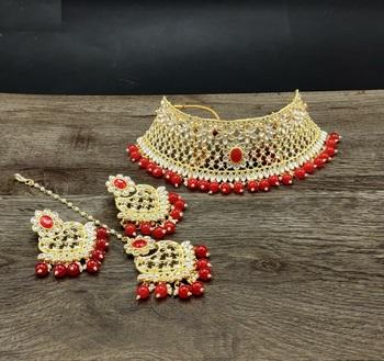 Gold Plated Stone Studded Designer Choker Set