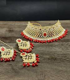 Gold Plated Stone Studded Designer Choker Set