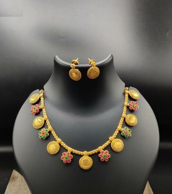 Gold Plated Coin and Flower Designer Necklace Set For Women