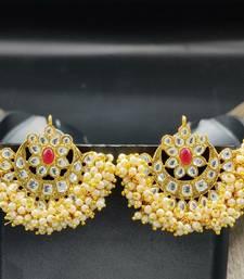 Gold Plated Chandbali Polki Earrings