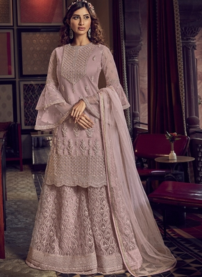 Dusty Pink Net Embroidery Sharara Style Suit