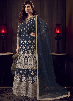 Navy Blue Net Embroidery Sharara Style Suit
