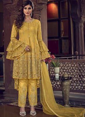 Yellow Net Embroidery Pant Style Suit