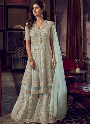 Baby Blue Net Embroidery Sharara Style Suit