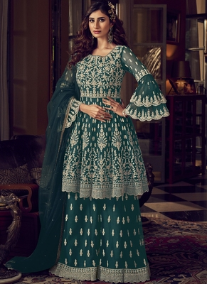Teal Blue Net Embroidery Sharara Style Suit
