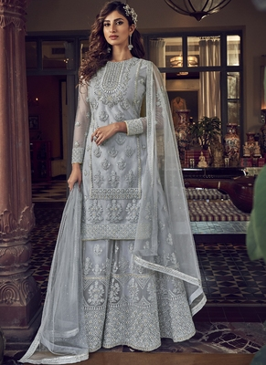 Grey Net Embroidery Sharara Style Suit