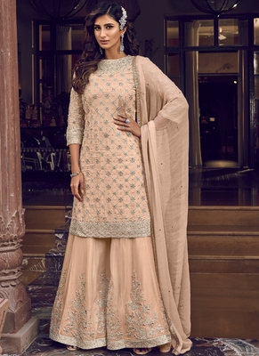 Peach Georgette Embroidery Sharara Style Suit