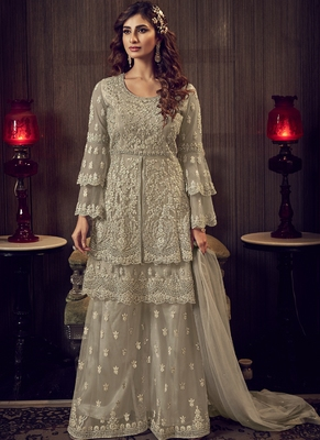 Sand Grey Net Embroidery Sharara Style Suit