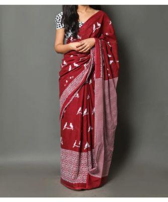 Red Cotton Block Printed Saree Blouse Bridesmaid Saree Designer Ready made Blouse Pearl Work Blouse Sari Party wear Wedding
