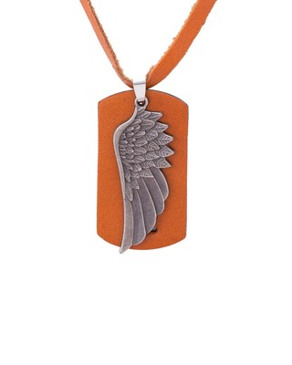 Feather Design Oxidized Plated Pendant With Leather Chain For Men