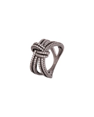 Knotted Style CZ Gems Adorned Ring