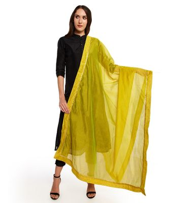 A Desi Weavess , Occasion Party wear lime green duppatta with a lime green zari butti