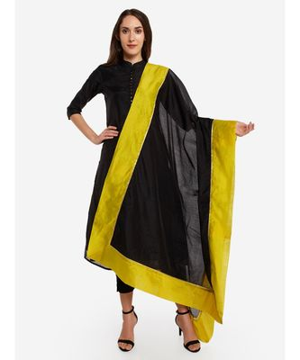 A Desi Weavess , Occasion Party wear black duppatta with a lime green  border