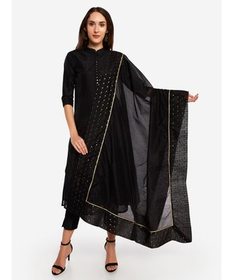 A Desi Weavess , Occasion Party wear black duppatta with a black border,with gold zari butties
