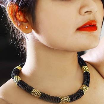 Black and Gold Coiled Necklace