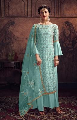 Sky-blue stone silk salwar