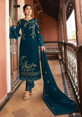 Dark-turquoise embroidered silk salwar