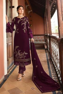 Dark-wine embroidered silk salwar